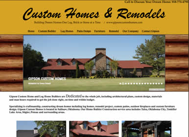 Oklahoma Custom Home Builder / Log Home Construction / Sims Solutions web design