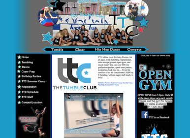 Gym incl Tumble, Cheer, Dance / Web Design by Sims Solutuions